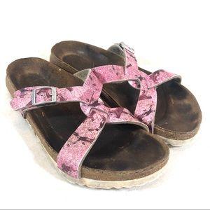 Birkenstock Birki's Pink Criss Cross Strap Sandals